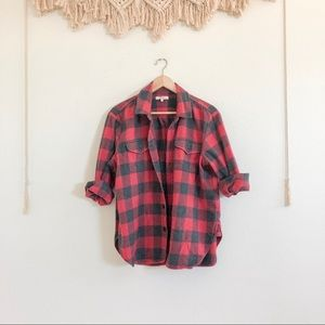 Madewell Red Plaid Flannel Button Up Shirt